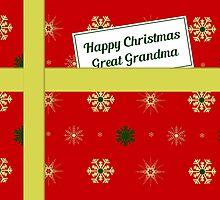 Great Grandma red Christmas parcel card by julesdesigns