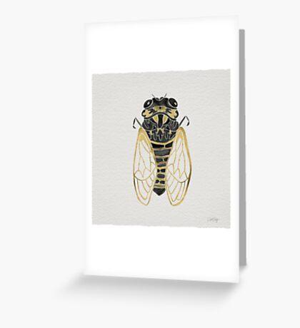 Cicada – Black & Gold Greeting Card