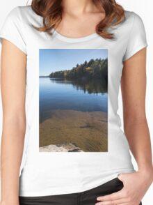 Golden Ripples Bedrock - Fall Mood Reflection   Women's Fitted Scoop T-Shirt