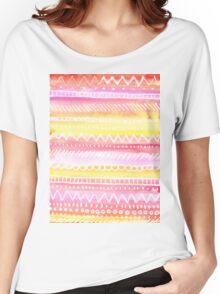 Toasty Sweater Stripes in Sunset Women's Relaxed Fit T-Shirt