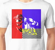 Contemporary Master Chief - Halo, Gamer, Gaming, Pop Art, Lichtenstein, Inspired, Red, Blue, White, Yellow, Black, Dots, Stripes, Modern, Primary Colors, Fresh Unisex T-Shirt