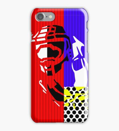 Contemporary Master Chief - Halo, Gamer, Gaming, Pop Art, Lichtenstein, Inspired, Red, Blue, White, Yellow, Black, Dots, Stripes, Modern, Primary Colors, Fresh iPhone Case/Skin