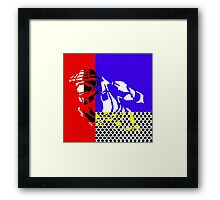 Contemporary Master Chief - Halo, Gamer, Gaming, Pop Art, Lichtenstein, Inspired, Red, Blue, White, Yellow, Black, Dots, Stripes, Modern, Primary Colors, Fresh Framed Print