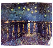 Starry Night over the Rhone, Vincent van Gogh. Poster