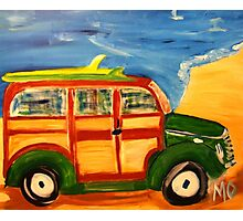 woodie wagon on the beach Photographic Print