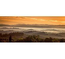 Tuscany Misty Sunrise Photographic Print
