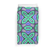 Flora Fantasy Patterns in turquoise, purple, blue and orange Duvet Cover