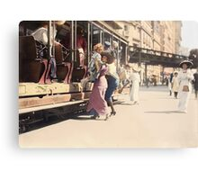 Mother helps her child off trolley in NYC — Colorized Metal Print