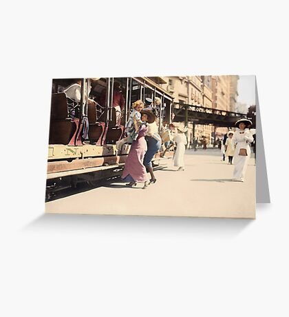 Mother helps her child off trolley in NYC — Colorized Greeting Card