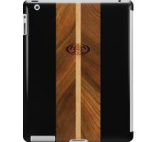 Rocky Point Hawaiian Faux Wood Surfboard - Black iPad Case/Skin