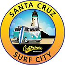 Santa Cruz Surf City California CA Light House Van by Frank Schuster