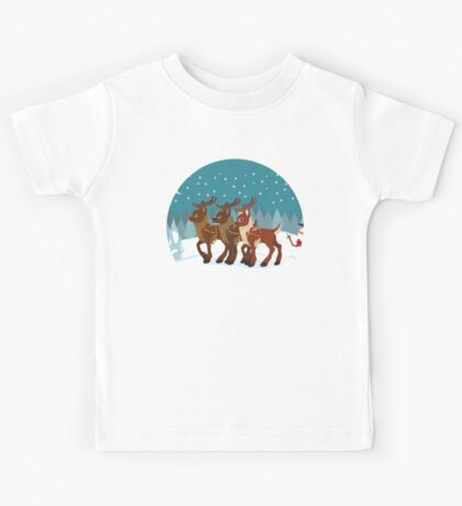 Reindeer in the Snow Kids Tee