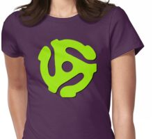 45 rpm record adaptor, neon green, purple Womens Fitted T-Shirt