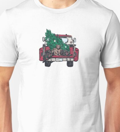 Christmas Tree Dog Pickup Truck Unisex T-Shirt