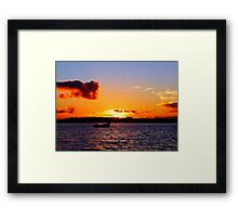 Anchored to Buoy at Dusk Framed Print