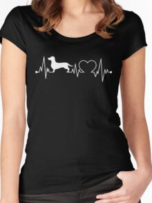 Dachshund Heartbeat Women's Fitted Scoop T-Shirt