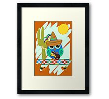 Cute Sombrero Owl with a Guitar Framed Print