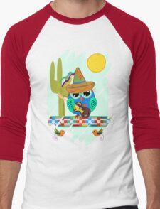 Cute Sombrero Owl with a Guitar Men's Baseball ¾ T-Shirt