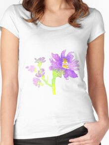 Watercolor violet flower Women's Fitted Scoop T-Shirt