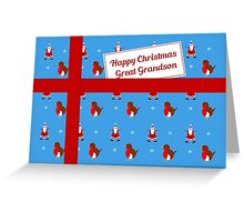 Great Grandson blue Christmas parcel card Greeting Card