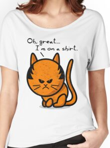 Grumpy cat worn out on shirt Women's Relaxed Fit T-Shirt