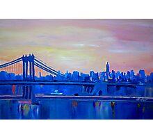 Blue Manhattan Skyline with Bridge and Vanilla Sky- Photographic Print
