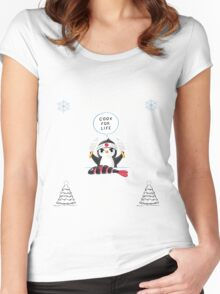 All I Want For Christmas Is A Penguin  T-Shirts. Women's Fitted Scoop T-Shirt