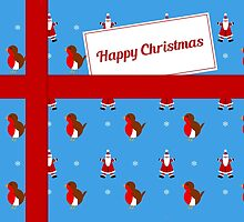 Blue Christmas parcel card by julesdesigns