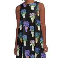 Black, Blue, Purple Colourful Floral Art Print A-Line Dress