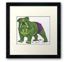 English Bulldog Hulk Avengers Marvel Superhero Framed Print