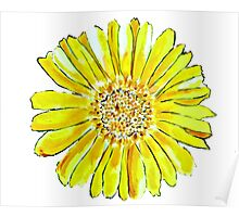Bright and big yellow flower Poster