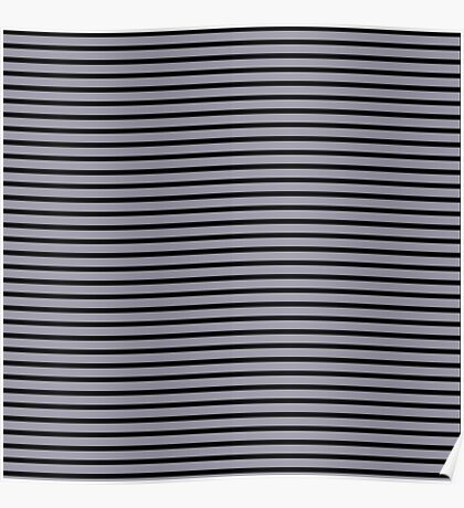 Lilac Gray and Black Stripes Poster