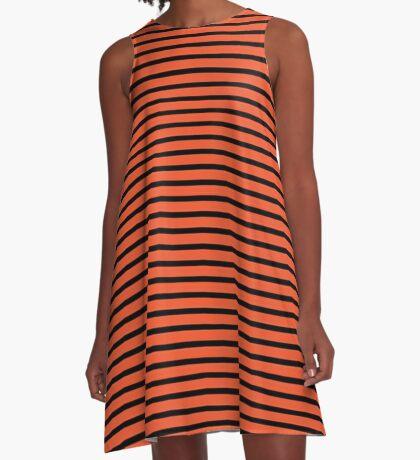 Flame and Black Stripes A-Line Dress