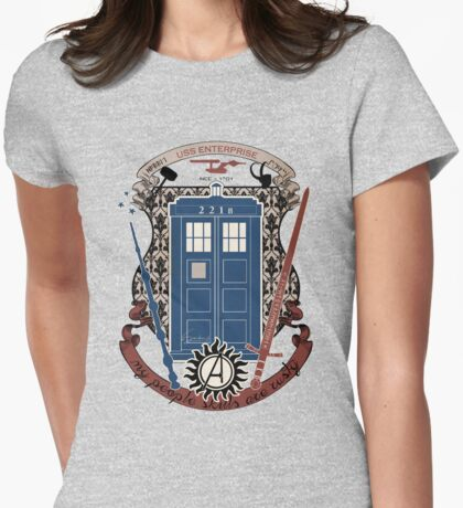 crest of the knight of fandom (a LOT of fandoms actually ;) Womens Fitted T-Shirt
