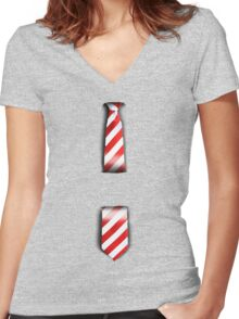 Tie Women's Fitted V-Neck T-Shirt
