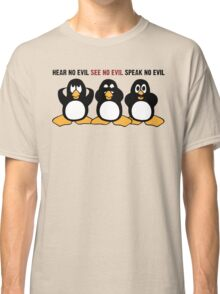 Three Wise Penguins Design Graphic Classic T-Shirt