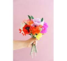 Hand holding paper flowers Photographic Print