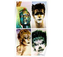 Four animal painted mannequins Poster