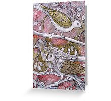 Birds on Branches—In Colored Ink Greeting Card