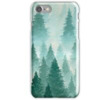 Hand Drawn Watercolor Painting of Winter Forest Landscape iPhone Case/Skin