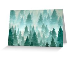 Hand Drawn Watercolor Painting of Winter Forest Landscape Greeting Card