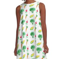 Watercolor vegetables design A-Line Dress