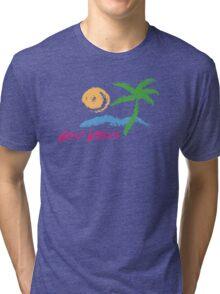 Good Vibes Beach Retro Sunset Print Design Tri-blend T-Shirt