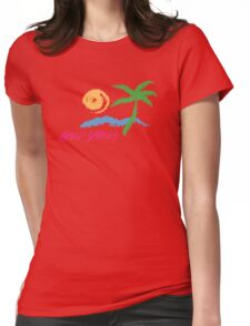 Good Vibes Beach Retro Sunset Print Design Womens Fitted T-Shirt