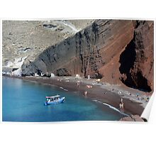 View of the seacoast and the beautiful Red beach. Santorini island, Greece Poster