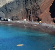 View of the seacoast and the beautiful Red beach. Santorini island, Greece Sticker