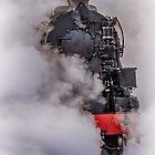 Train emerging from the steam by alan tunnicliffe