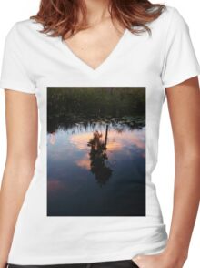 Sip of Serenity Women's Fitted V-Neck T-Shirt