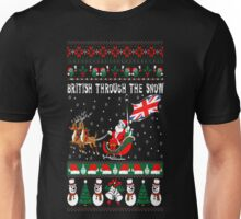 British Through The Snow Christmas Ugly Sweater T-Shirt Unisex T-Shirt