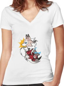 Lyncanroc day and night Women's Fitted V-Neck T-Shirt